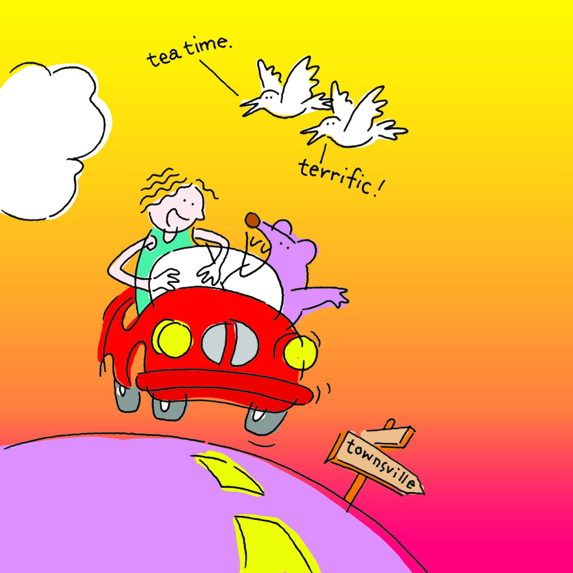 Children's book illustration with a car and birds.