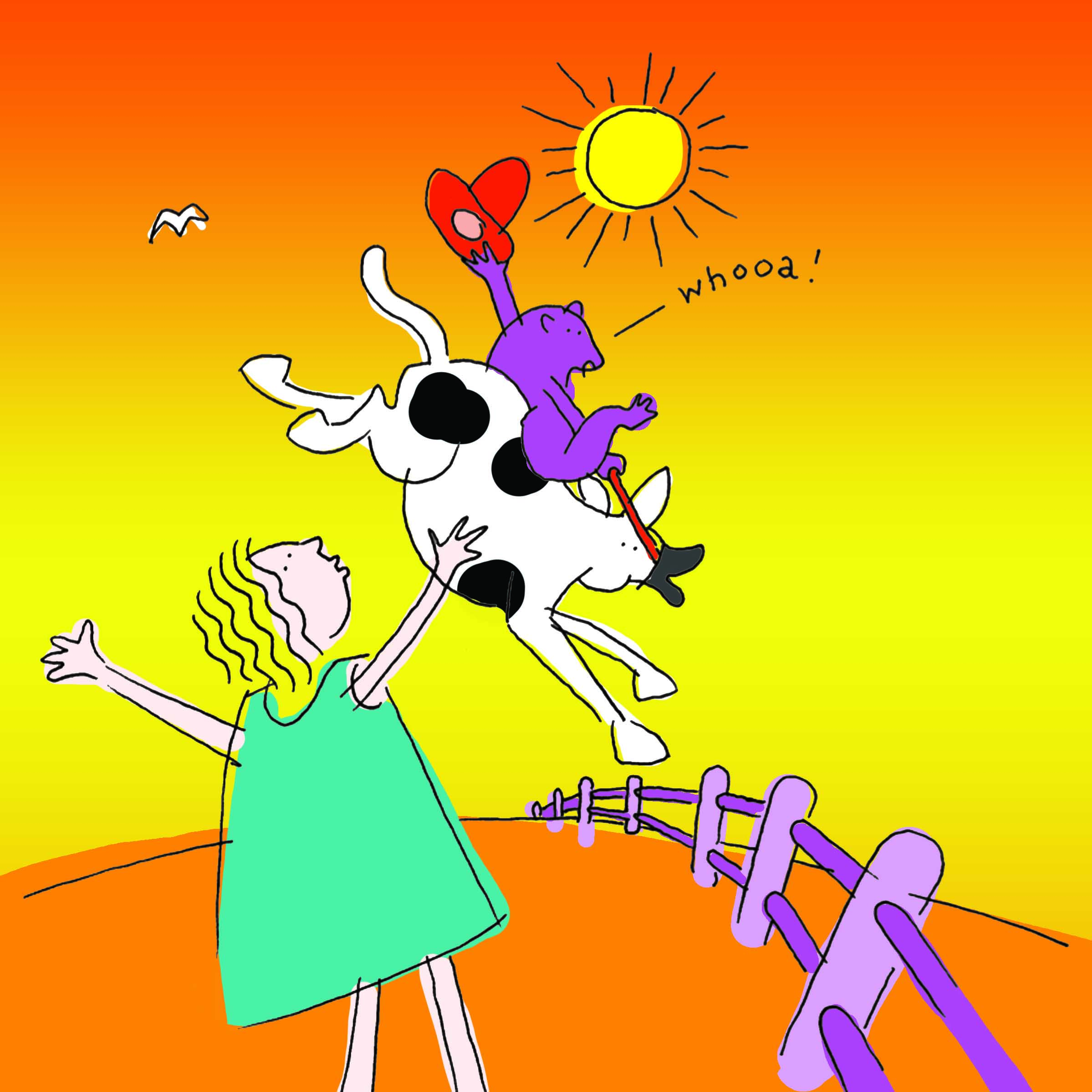 Children's book illustration with a cow in the outback.