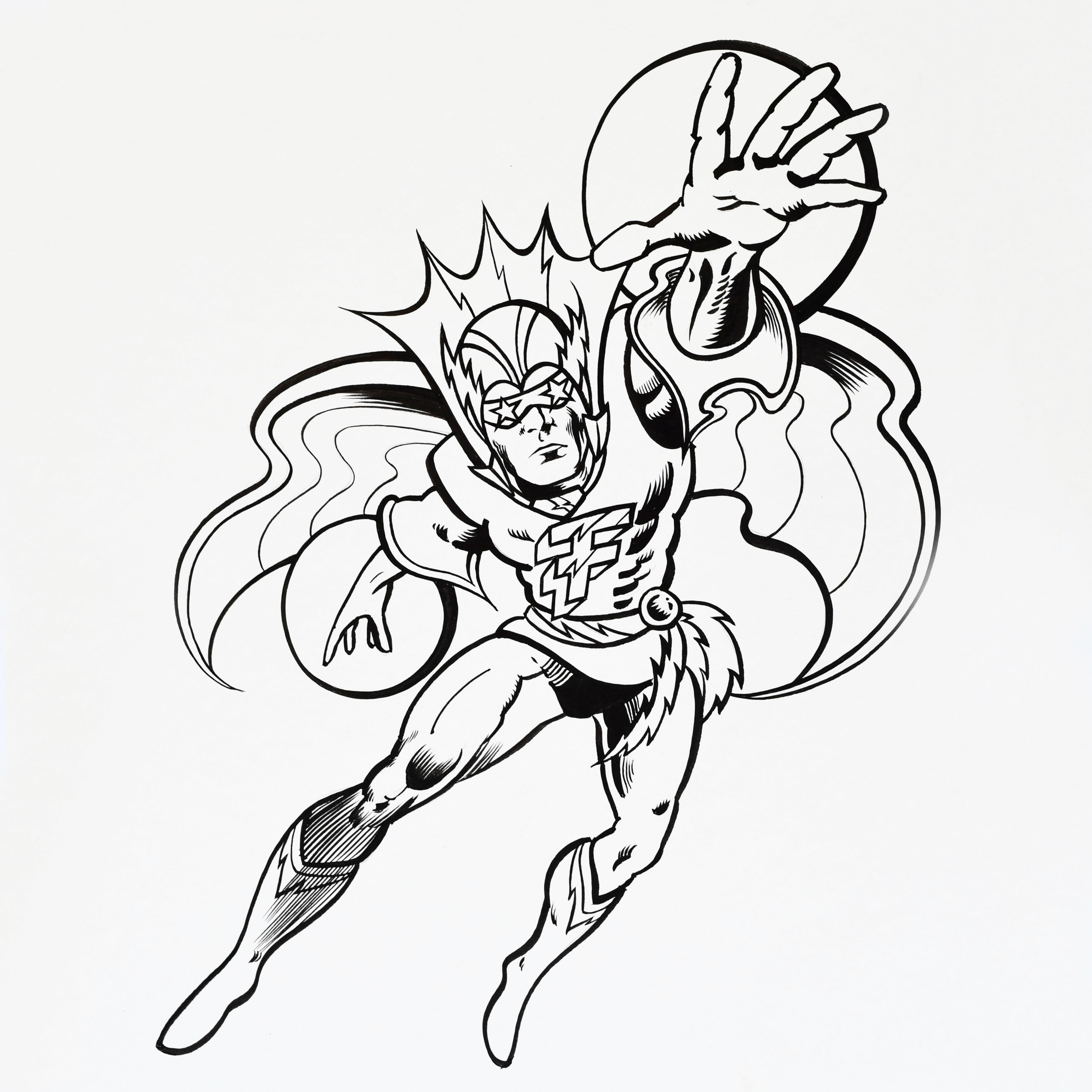 Superhero animation using ink and pen on artboard.