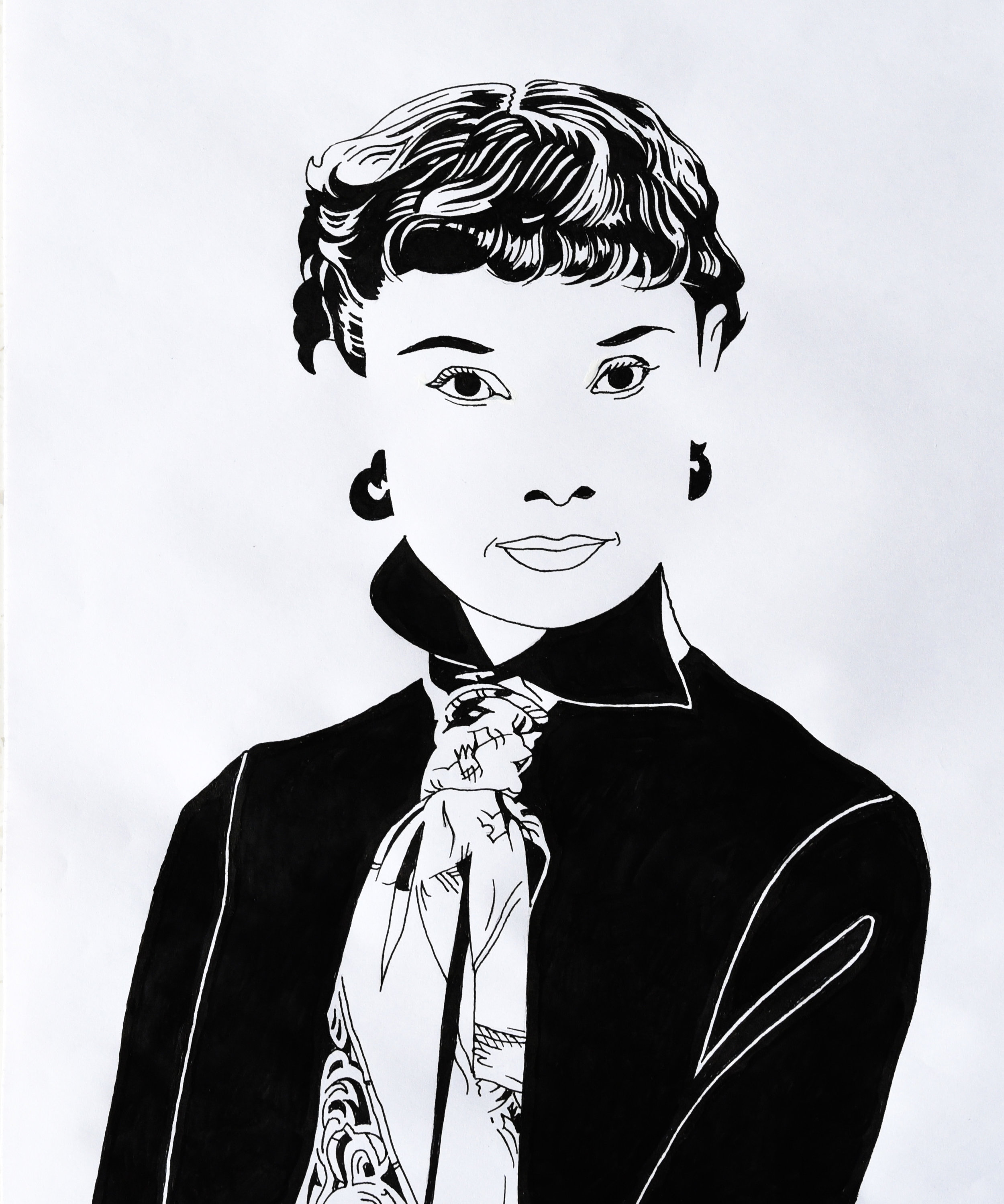 Audrey Hepburn black and white illustration.