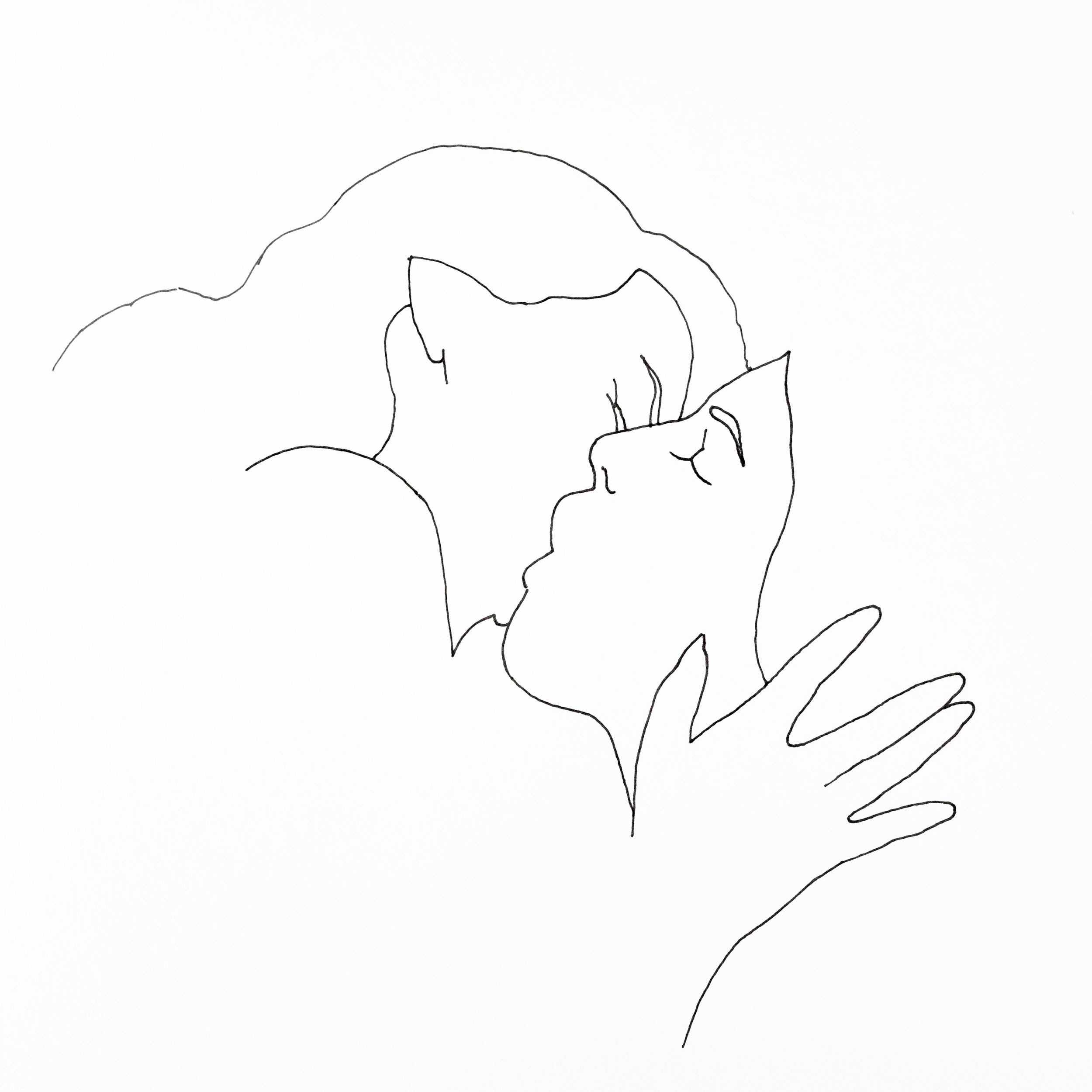 Minimal line drawing of two women kissing using pen and ink on paper.