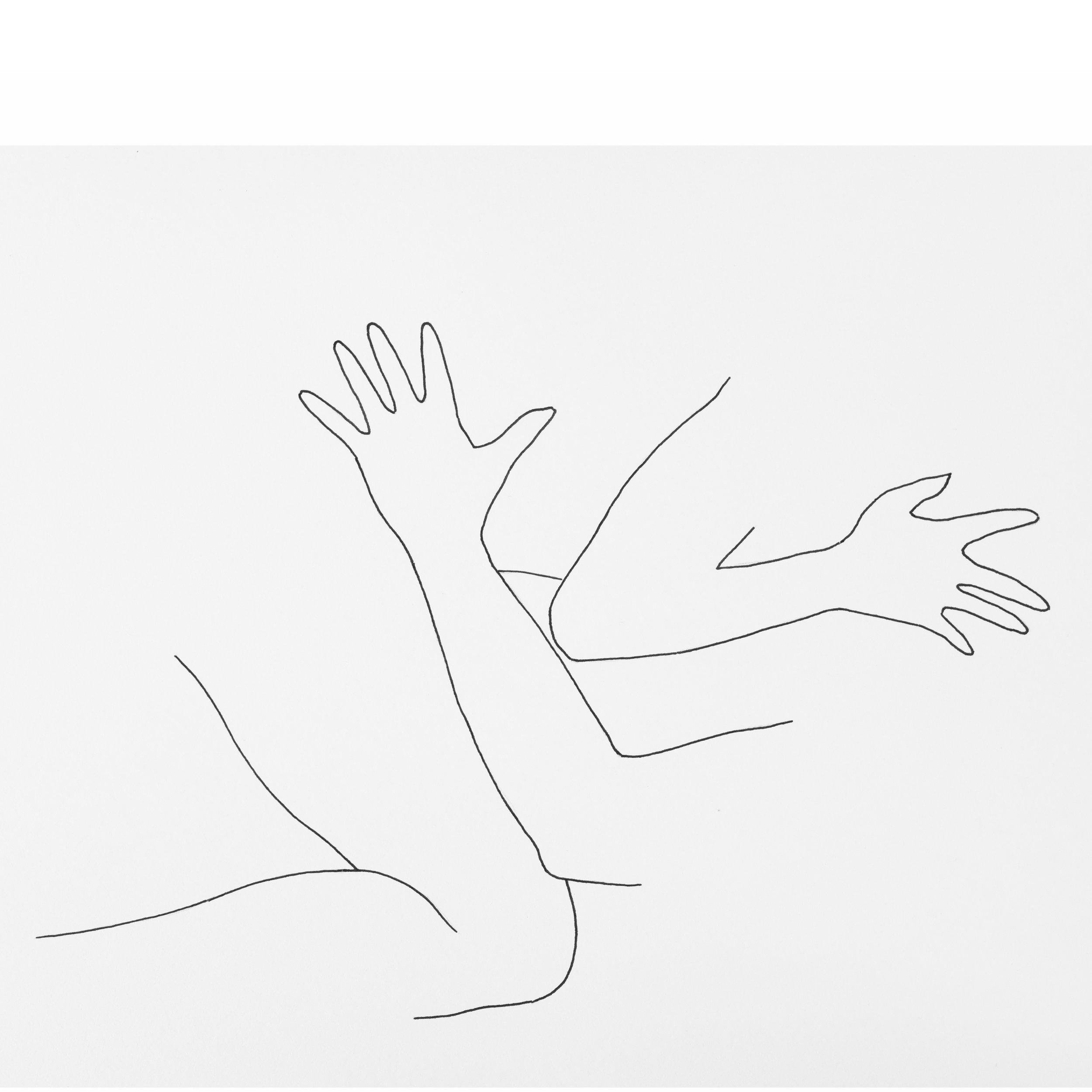 Minimal brush pen line drawing of two women.