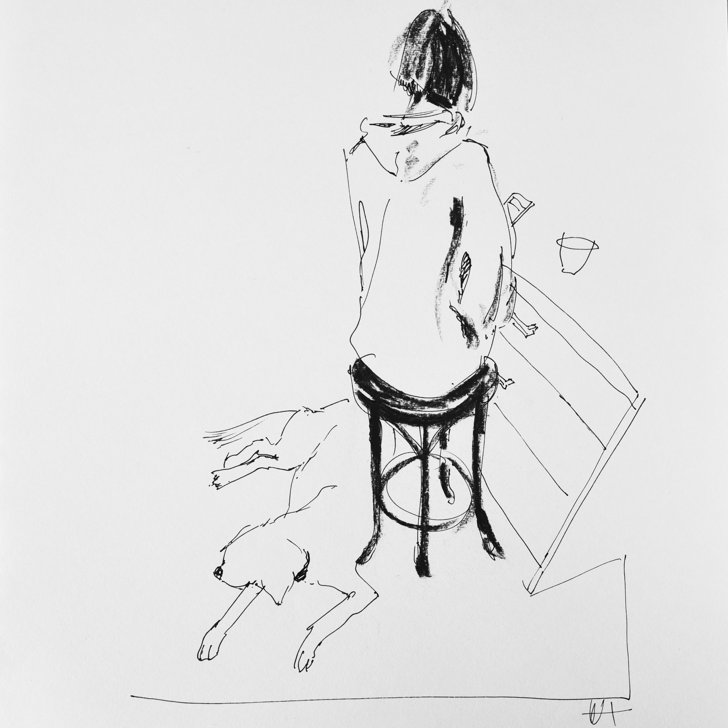 Line drawing of a woman on Instagram with her dog.