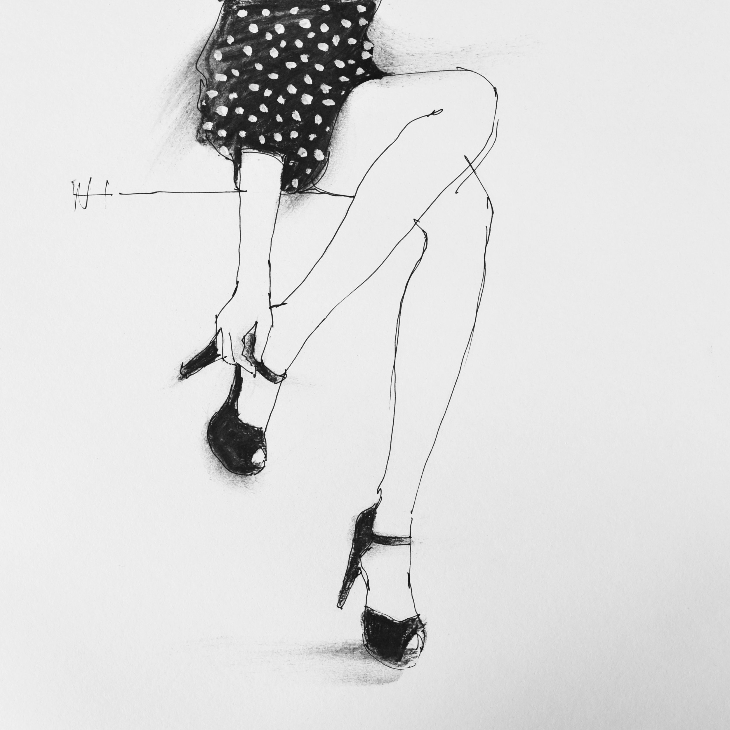 Minimal fashion illustration line drawing of a woman in a black dress and high heels.