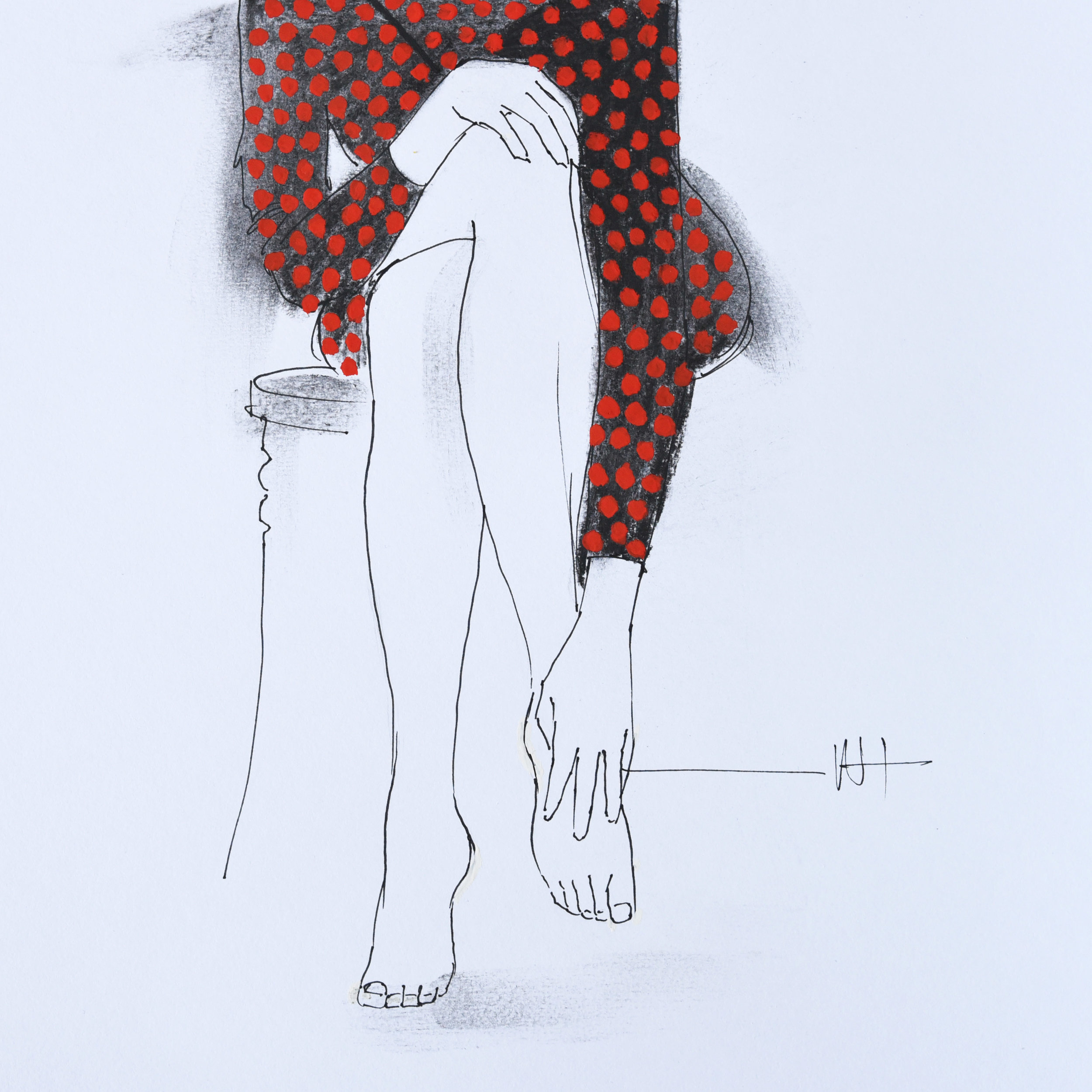 Minimal fashion illustration line drawing of a woman in a red and black polka dot dress.