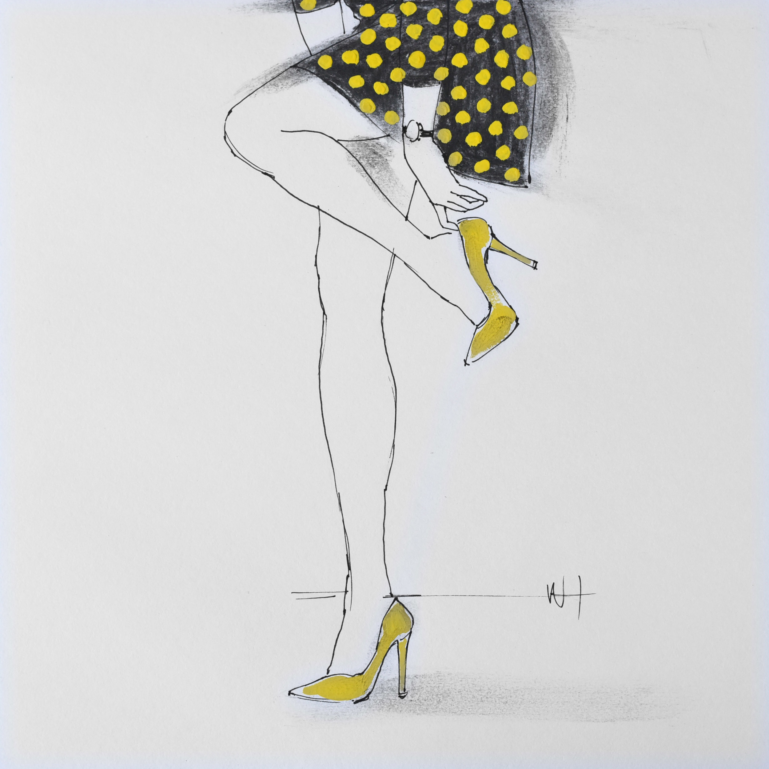 Minimal fashion illustration line drawing of a woman in a yellow polka dot dress.