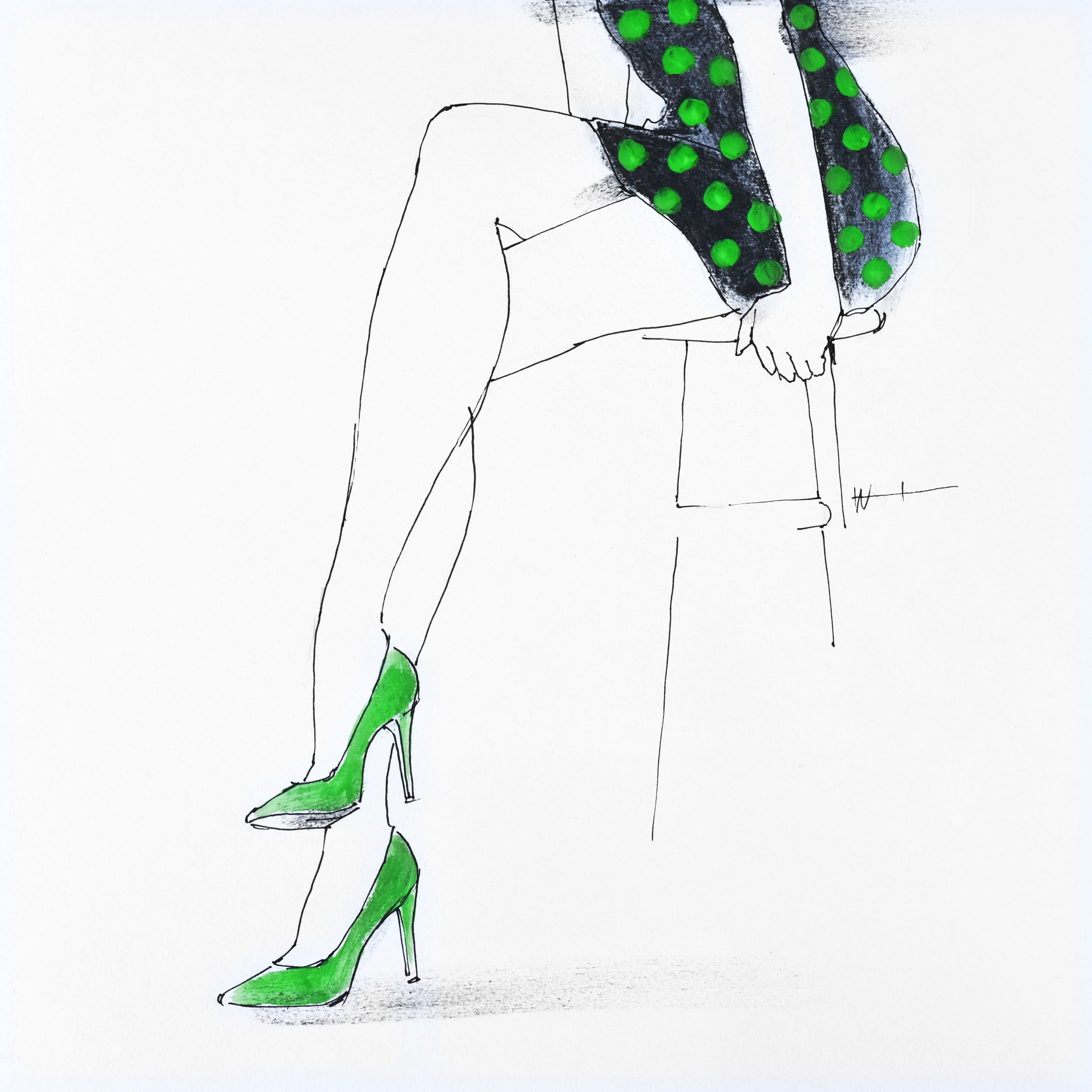 Minimal fashion illustration line drawing of a woman in a polka dot dress.