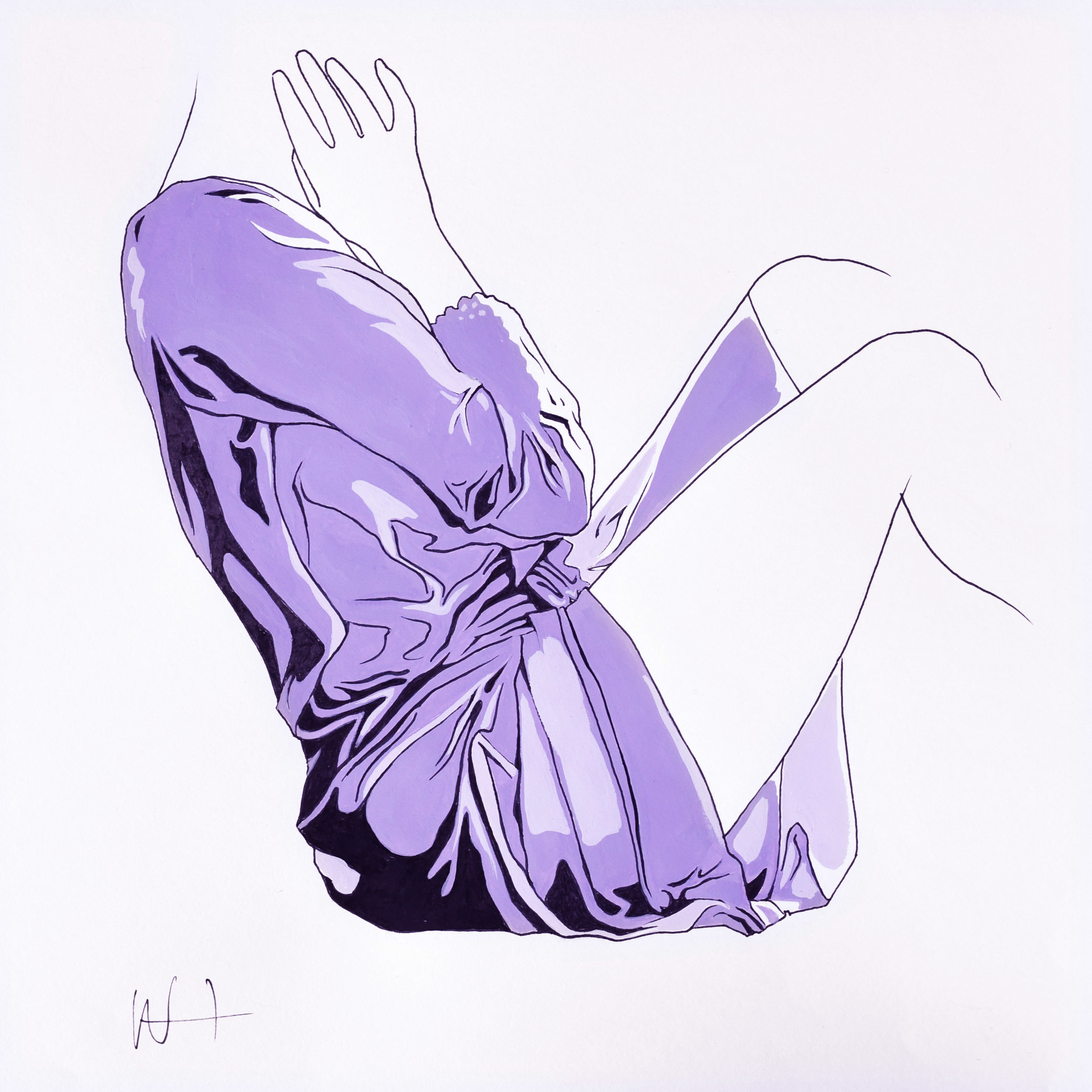 Minimal fashion illustration line drawing of a woman in a purple dress.