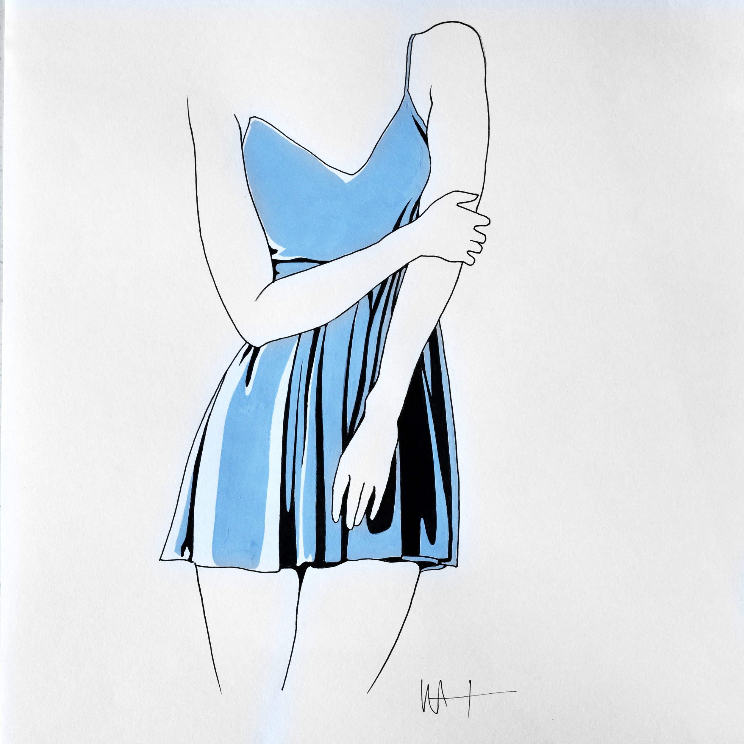 Minimal fashion illustration line drawing of a woman in a blue dress.