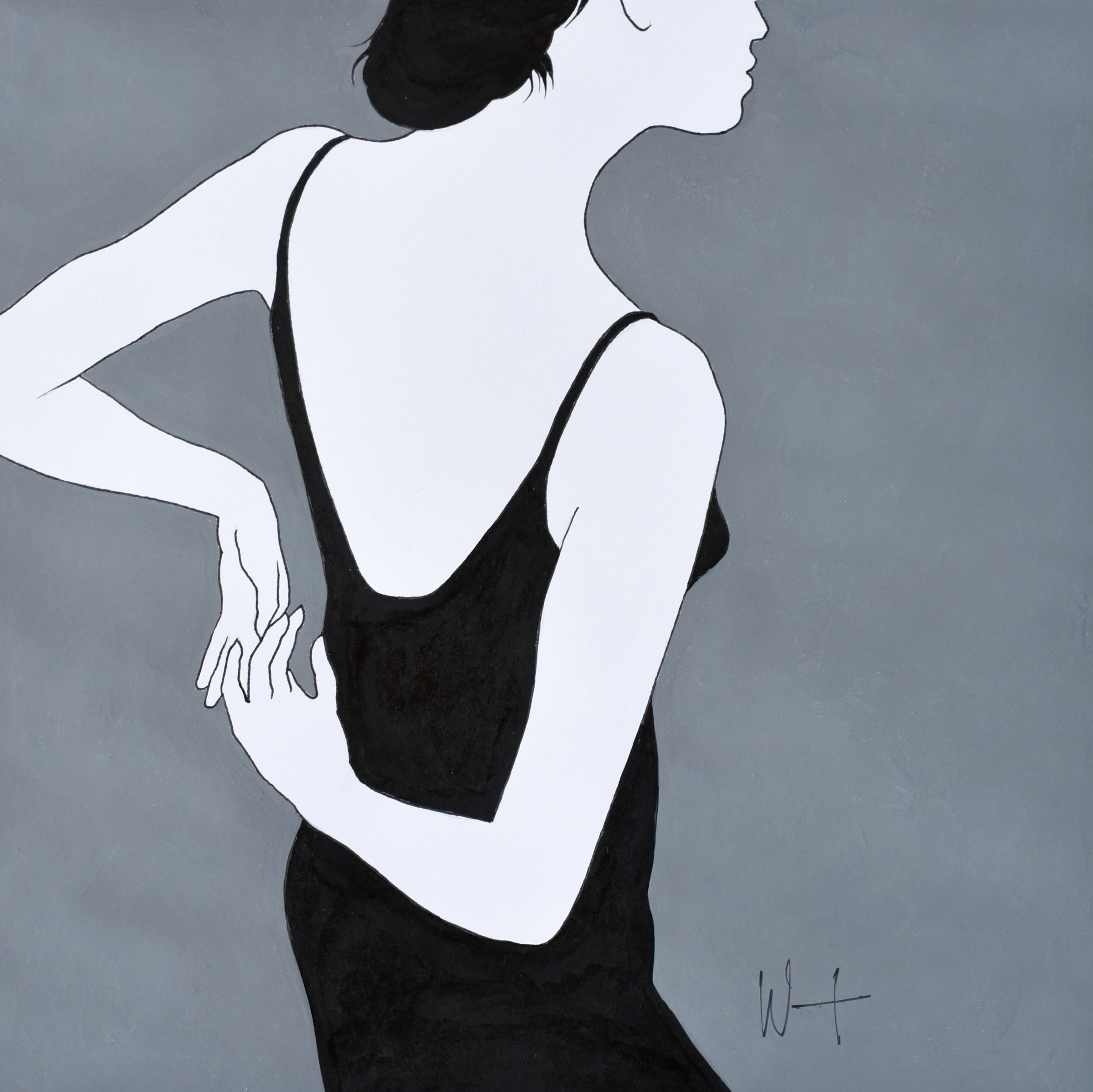 Black, white and grey fashion illustration of a woman in a black dress