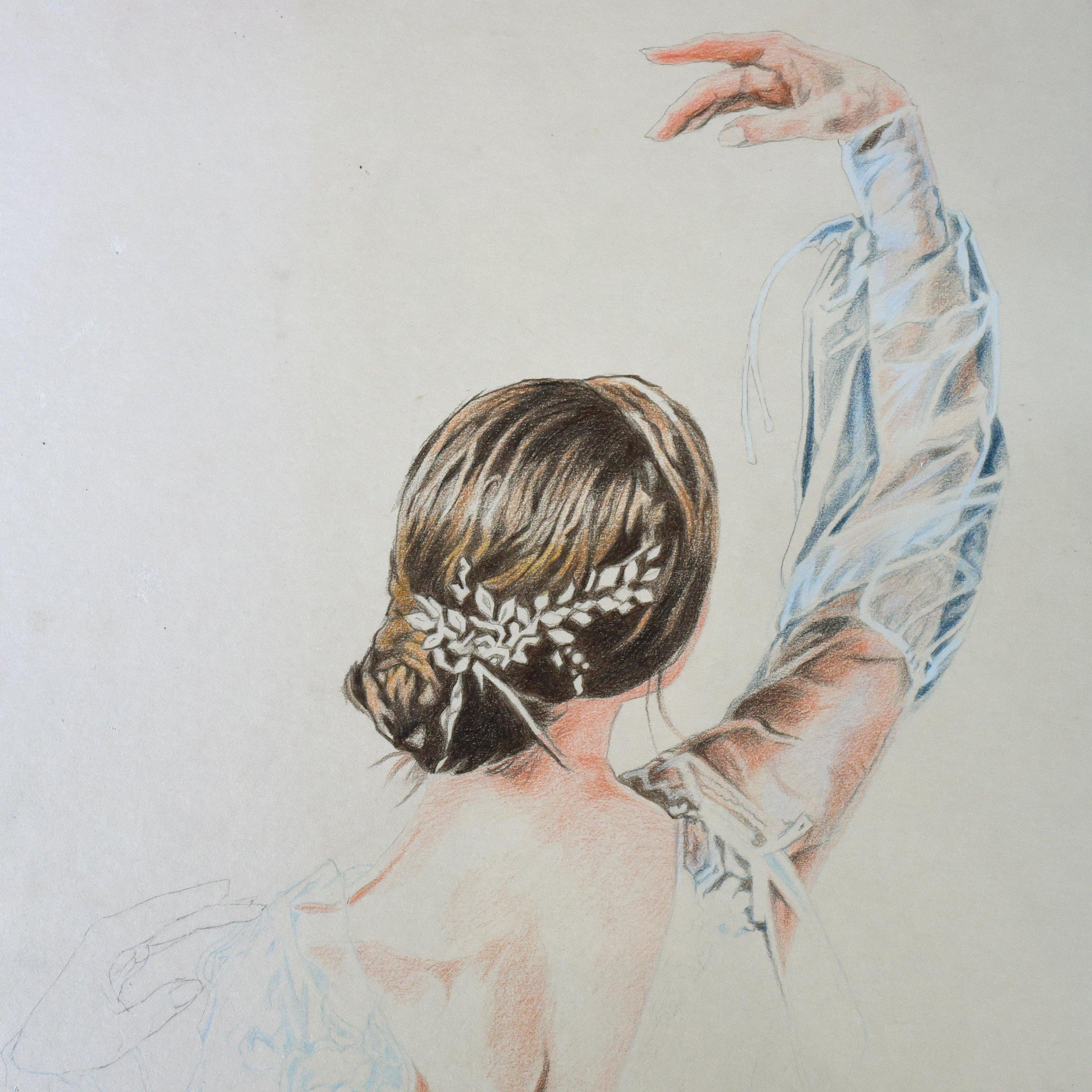 Colour pencil portrait of a ballerina on art board.