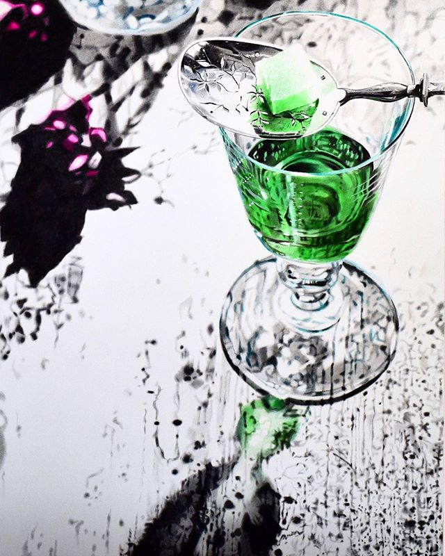Green Fairy. Acrylic on canvas 3 ft x 4 ft. Finished piece. Now that's a big drink.  #sydneyartist #exhibition #art #artist #painting #acrylic #acrylicpainting #creative #artistsoninstagram #warwickwoodartist #alcohol #absinthe #cocktails