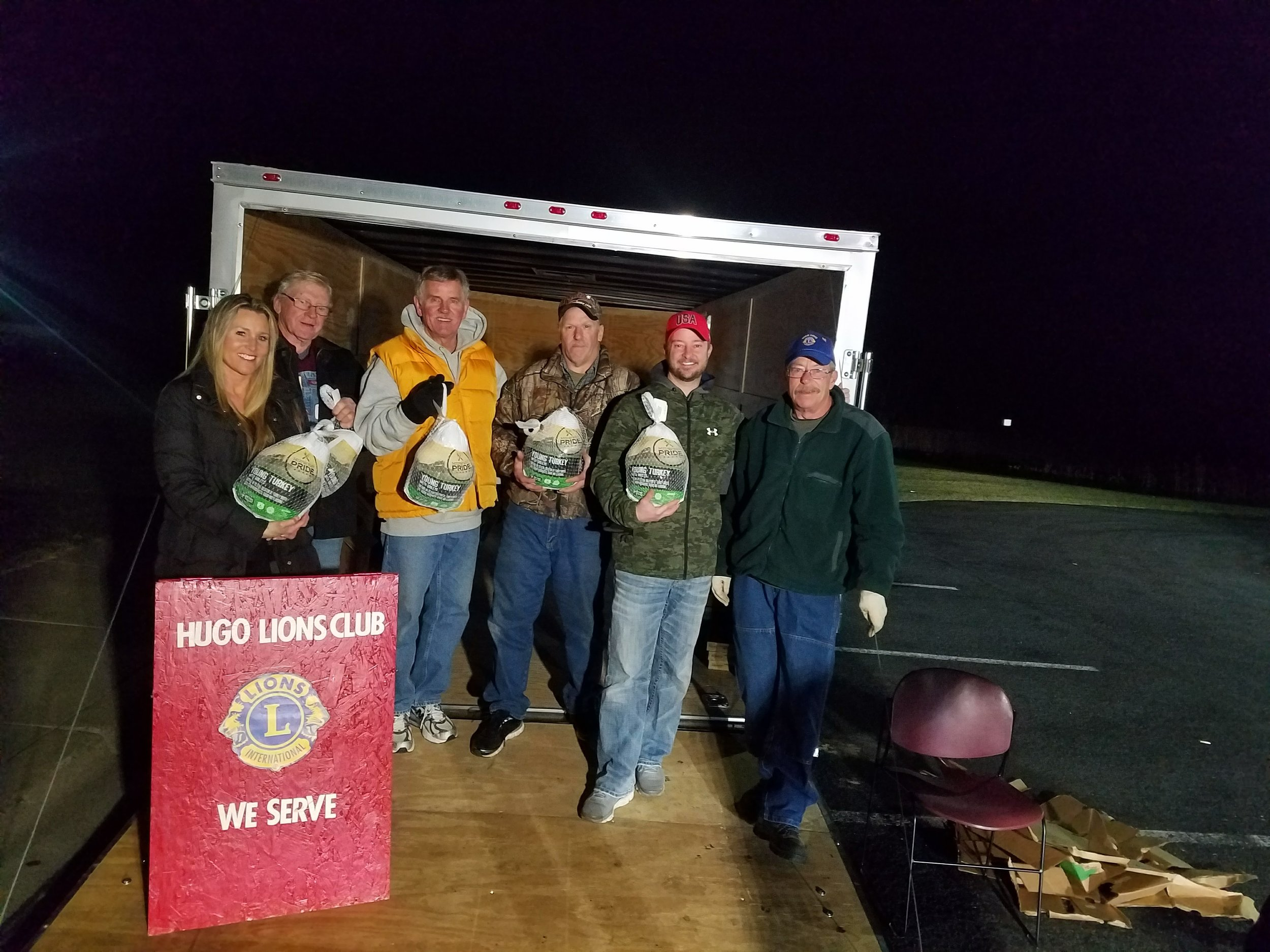Giving Thanks... - Hugo Lions delivering Thanksgiving turkeys donated by Grundhofer's with a match from the Hugo Lions to benefit the Good Neighbor Food Shelf.