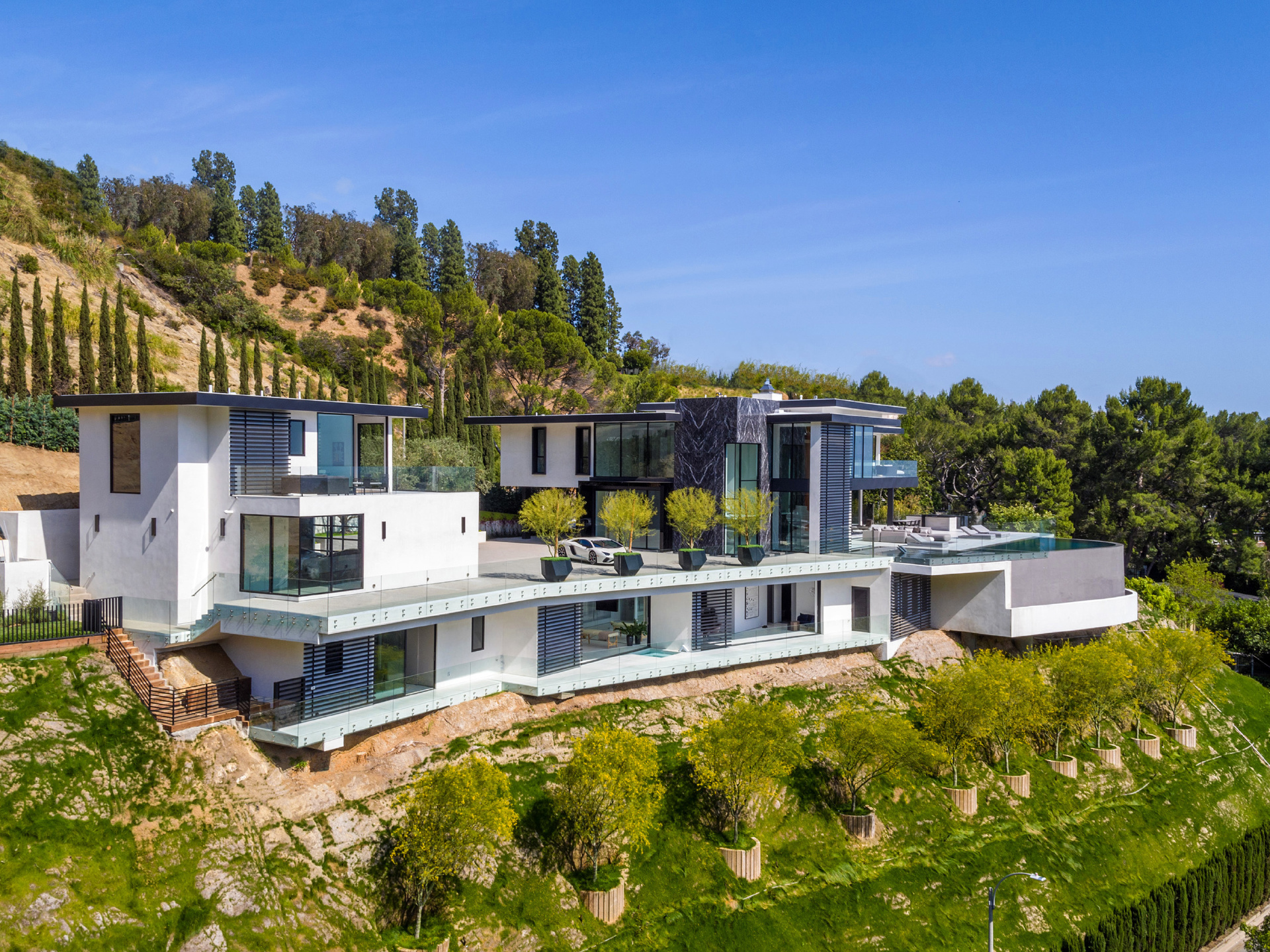 Modern house in West Hollywood Hills. Listed for $36,985,000.