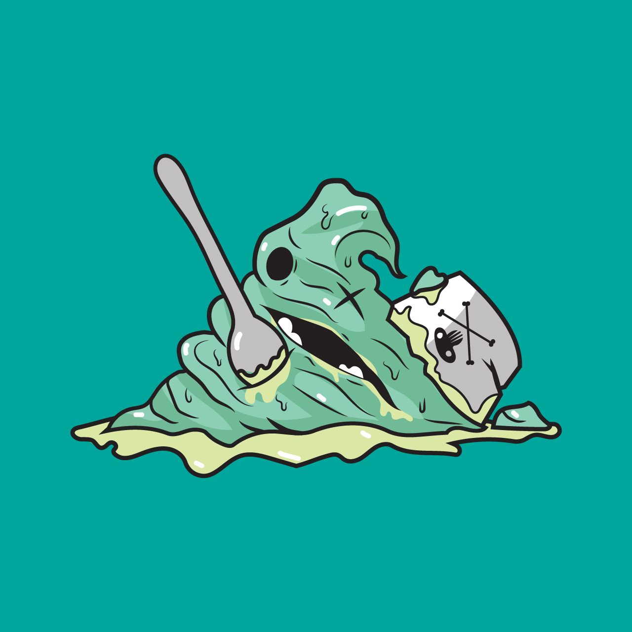Mint - His human impaled him with a plastic spoon and decided to be too clumsy to properly hold a paper cup.