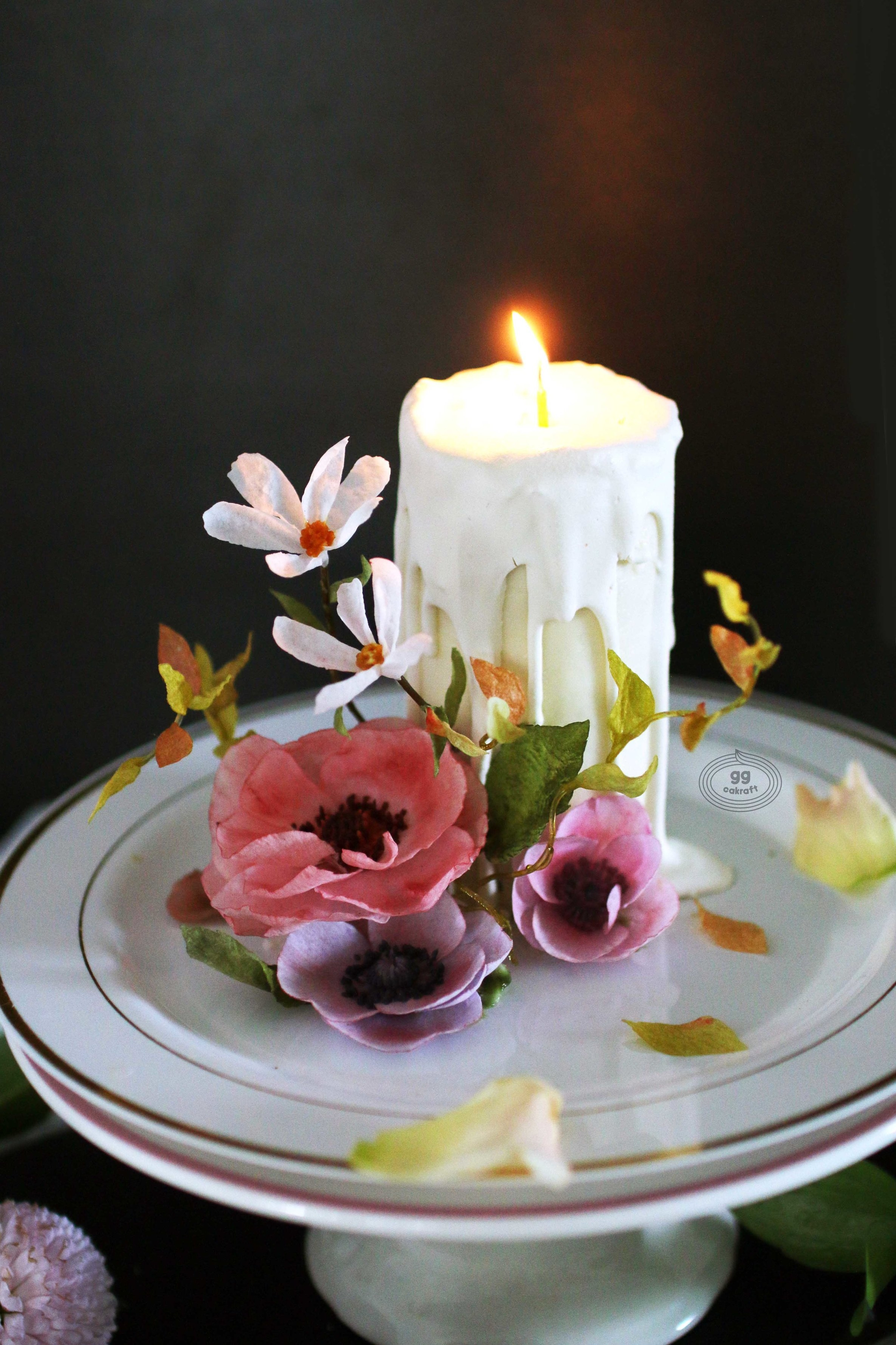 Day 1. Candle cake with Waper paper (All edible) (Real cake)   - Candle cake icing  - Anemone, Cosmos, Lavander, 3D leaf, 3D stem
