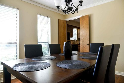 The dining room in one of our sober living homes