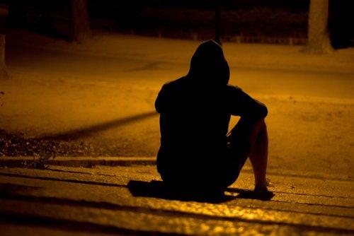 A person sitting alone