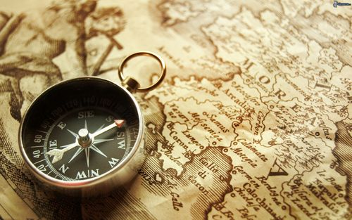 A compass and map