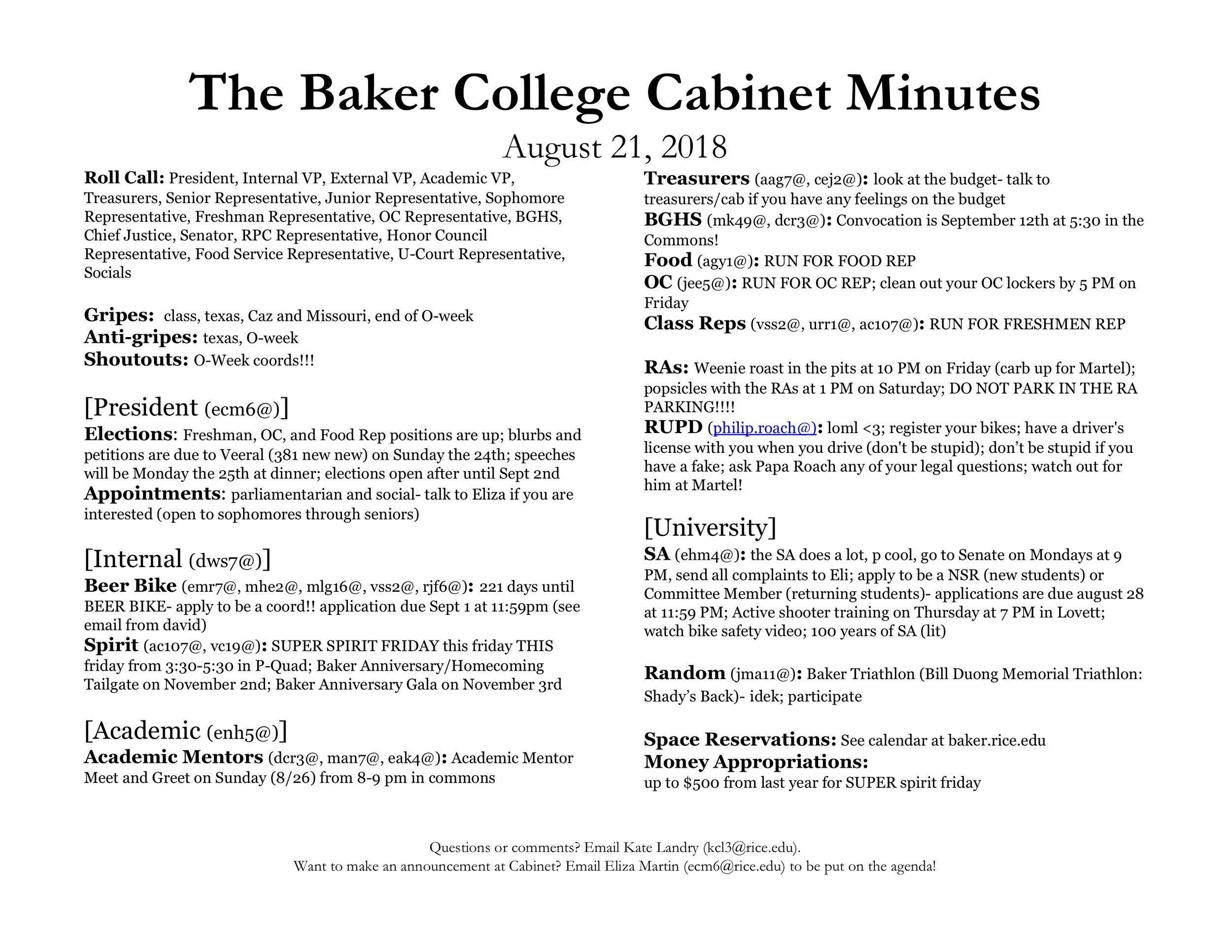 Minutes — Baker College