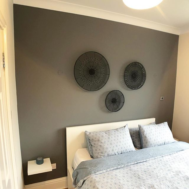 Three bedroom house in #Surbiton - Feature wall painted in the Master Bedroom - Colour is @farrowandball 'Moles Breath' - Keep swiping to see the before pictures. #RichardsonInteriors #PaintingAndDecorating #Painting #Decorating #Surrey #London #FarrowAndBall #FarrowAndBallMolesBreath #MolesBreath #Interiors #InteriorDesign #InteriorInspiration #Renovation #Refurb