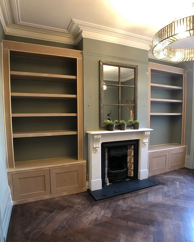 Some progress photos of the cabinet and shelving build in #Dulwich - Built for @a_dulwich_diary - Now prepped and ready to be primed and painted this week. Colour will be @farrowandball 'Pigeon' finish will be Estate Eggshell. Keep swiping to see before photos. #RichardsonInteriors #CarpentryAndJoinery #Carpentry #Joinery #AlcoveCabinet #AlcoveShelving #Alcove #AlcoveShelves #Cabinet #AlcoveUnits #AlcoveCupboards #Carpenter #WestDulwich #EastDulwich #London #Interiors #InteriorDesign #InteriorInspiration #Livingroom #LivingroomDecor #Renovation #PaintingAndDecorating #Decorating #DeWalt #DeWaltTough #DeWaltTools