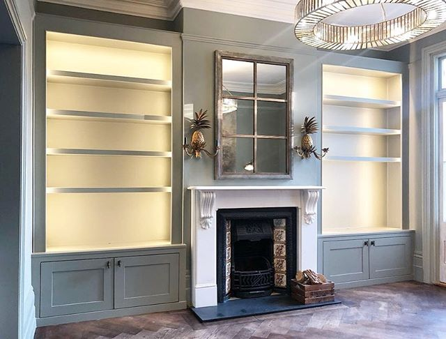Some more photos of the recently completed cabinet and shelving build in #Dulwich for @a_dulwich_diary - Really happy with how this one has turned out. The LED lighting is dimmable from the main switch. Colour is @farrowandball 'Pigeon' finished in Estate Eggshell. Keep swiping to see the before photo. #RichardsonInteriors #CarpentryAndJoinery #Carpentry #Joinery #AlcoveCabinet #AlcoveShelving #Alcove #AlcoveShelves #Cabinet #AlcoveUnits #AlcoveCupboards #Carpenter #WestDulwich #EastDulwich #London #Interiors #InteriorDesign #InteriorInspiration #Livingroom #Renovation #PaintingAndDecorating #Decorating #EdwardianHouse #EdwardianHouseRenovation #VictorianHouseRenovation #FarrowAndBall #FarrowAndBallPigeon #LEDLights