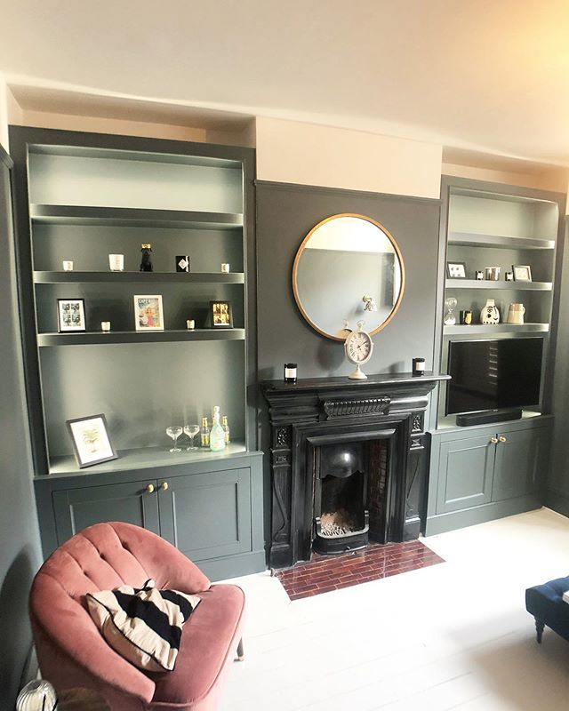 I've been meaning to post this job for months. The photos of the completed cabinet and shelving build in #Balham - fitted with @philipshue LED strip lighting and finished in @farrowandball Estate Eggshell, colour is 'Down Pipe' - I also wall mounted a new @samsungtv and installed a new @sonos sound bar. Keep swiping to see the before photo. #RichardsonInteriors #CarpentryAndJoinery #Carpentry #Joinery #AlcoveCabinet #AlcoveShelving #Alcove #AlcoveShelves #Cabinet #AlcoveUnits #AlcoveCupboards #Carpenter #London #Interiors #InteriorDesign #InteriorInspiration #Livingroom #Renovation #PaintingAndDecorating #Decorating #VictorianHouse #VictorianHouseRenovation #FarrowAndBall #FarrowAndBallDownPipe #PhilipsHue #PhilipsHueLights