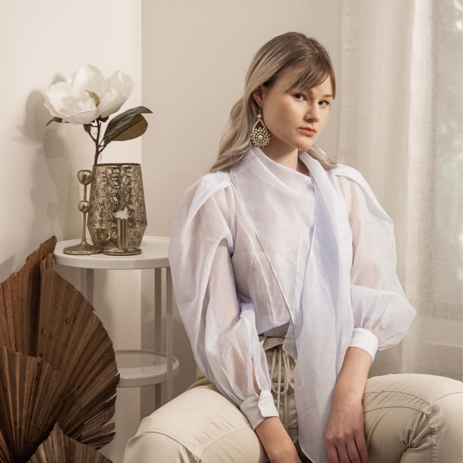 WEAR WITH - Crisp linen, soft tones and lush sheer fabrics.