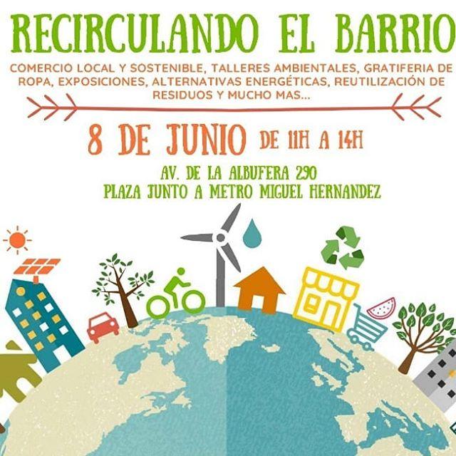 RECIRCULANDO EL BARRIO ♻ - Mañana estaremos participando en el evento comunitario sobre economía circular: «Recirculando el barrio» que se organiza de 11 a 14h en Vallecas (Madrid) - Estaremos con nuestra compostadora en acción para resolver todas tus inquietudes, charlar y ponernos cara... 😊 - ¿Te vienes? - Organiza: «Cuidamos Vallecas» - Distrito Puente de Vallecas
