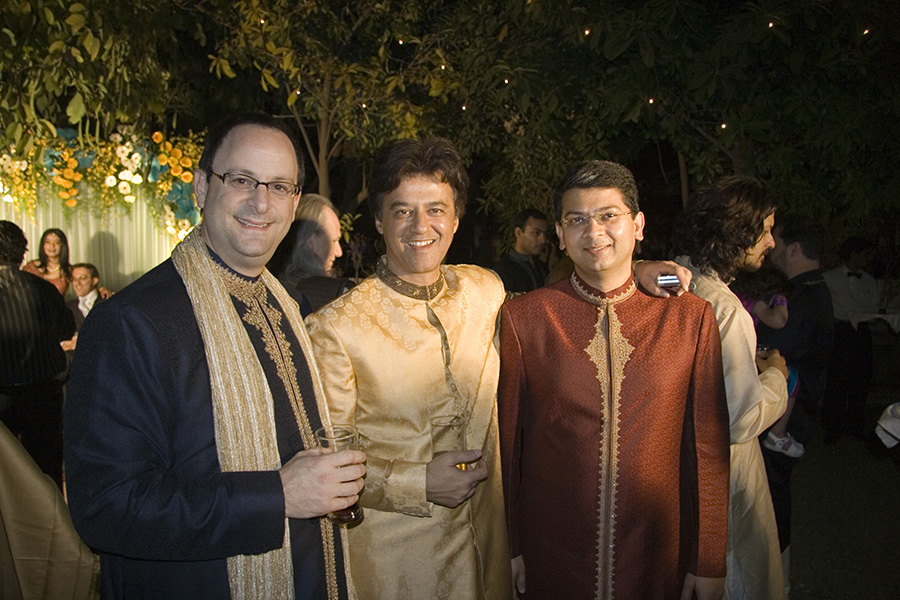 Rakesh Mathur, Webaroo's CEO (middle) with his start up co-founders, Bradley Husick (left): and Beerud Sheth at a traditional Indian wedding earlier this year. Mathur who founded the successful virtual database company Junglee in 1996 - which was sold to Amazon for $200m just two years later.