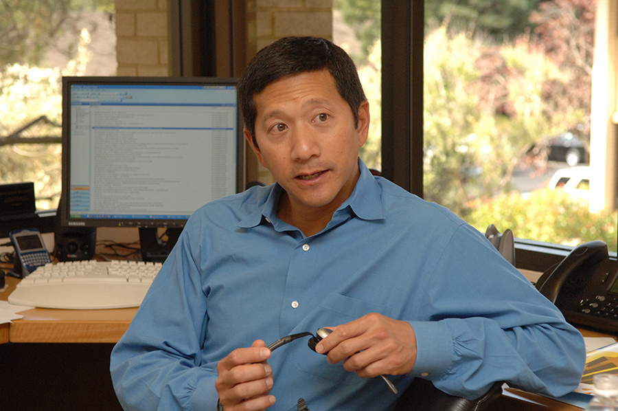 Venture capitalist Geoff Yang in his office at Redpoint Ventures based in Sand Hill Lane in Menlo Park - the Mecca for Venture Capitalists. Yang - then of Institutional Venture Partners back in the late 1990s, now of Redpoint Ventures - was one of the big players in the dotcom boom.