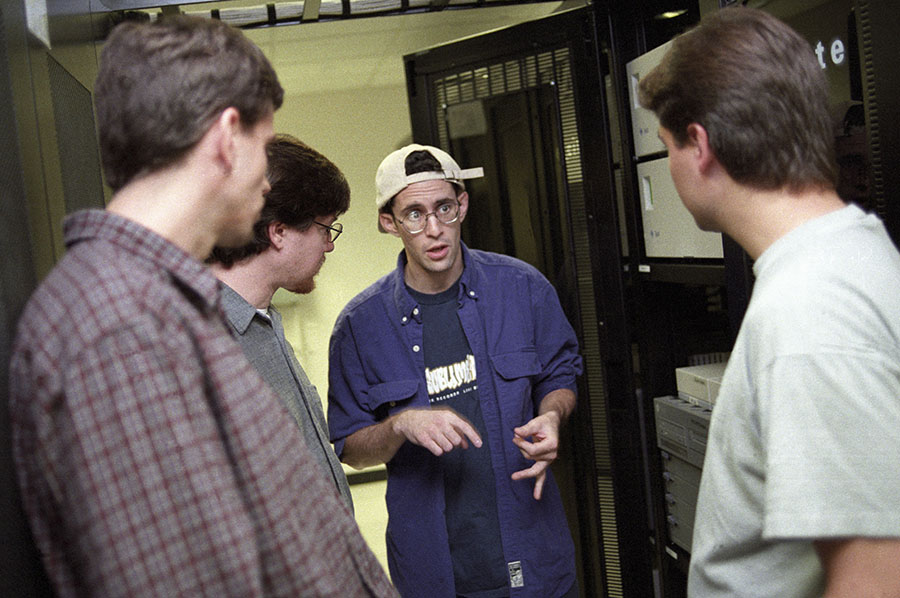 Ben Lutch, the then CTO of Excite.com giving his co-founders a tour around the server room back in 1997. Excite was the Google of its day: the search drive, launched in 1993, was floated for $177m in April 1996, when the rest of us where only just cottoning on to email.