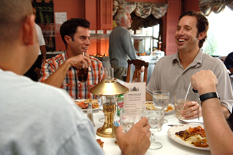 Josh Felser taking a new employee out to lunch at their local Indian restaurant in Sausalito (just north of San Francisco).