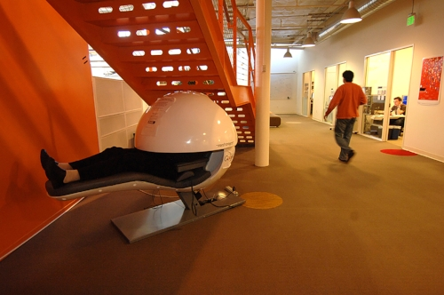 Sleep pods are scattered around Google's funky offices to provide an environment in which they can re‐charge at the office/ seek inspiration. The cooling of Google's data centres was their biggest energy offender. They now use water evaporation towers instead of A/C.