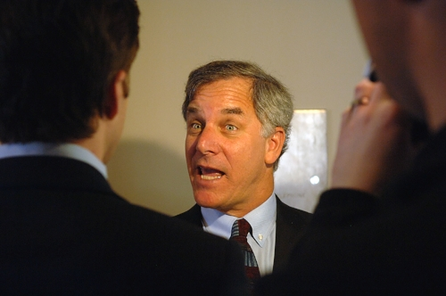 Gary Hirshberg, Founder & CEO of Stonyfield Farms speaking to the press at the New Hampshire State Senate against the proposed $450m investment in an ageing coal plant. Hirschberg ‐ a high profile eco businessman in US ‐ arguing that the money would be better invested in CO2‐free wind power.