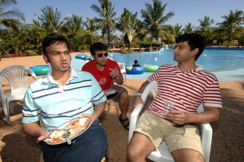 Anurag Dod, the co-founder and CEO of Guruji.com with his colleagues at play day at Club Cabana at an exclusive beach-style resort on the outskirts of Bangalore.