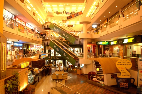 One of the major shopping malls – this one at the bottom of Bangalore's buzzing Brigade Road. The economy of India is the fourth largest in the world as measured by purchasing power parity (PPP).
