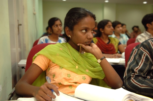 A young student attending one of Professor Ashok Jhunjhunwala's lectures at the IIT Madras.