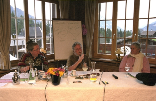 Dr. Carl O. Simonton, a leader in mind/ body medicine and author of best seller book, 'Getting well again', talking to cancer patients in the Swiss mountain resort, Schonried.