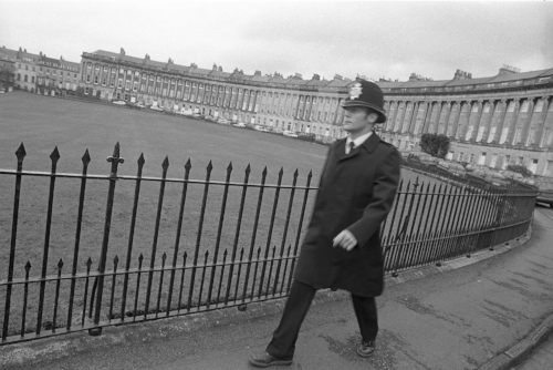 Ian Sanders, Bath's mercurial scrum half, had 88 caps for the club and would have played for England had it not been for Richard Hill, England's then first choice scrum half. Sanders worked for the police during the day – seen here walking his beat on Bath's renowned Royal Crescent.