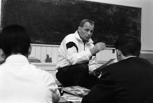 Andy Robinson gained eight caps for England, played 6 non-international games for the British and Irish Lions on their 1989 tour of Australia. Seen here teaching history at Colston's Collegiate School.