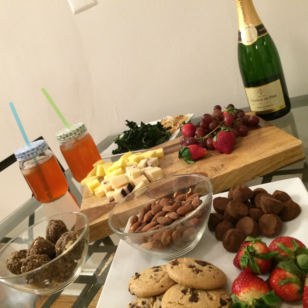 Of course, no girls night is complete without some Paleo snacks, kombucha, and some bubbly ;)