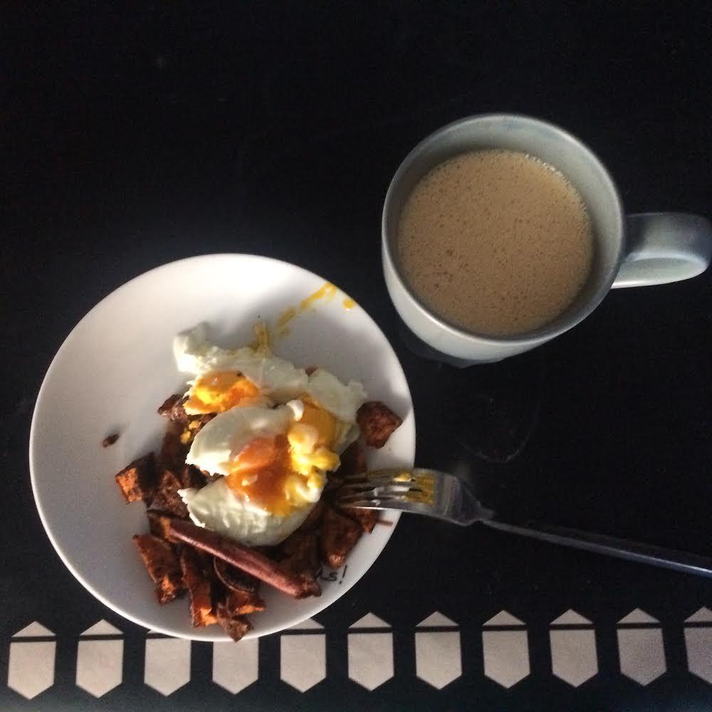 Cinnamon-Sage Sweet Potato Hash with eggs and Bulletproof Coffee