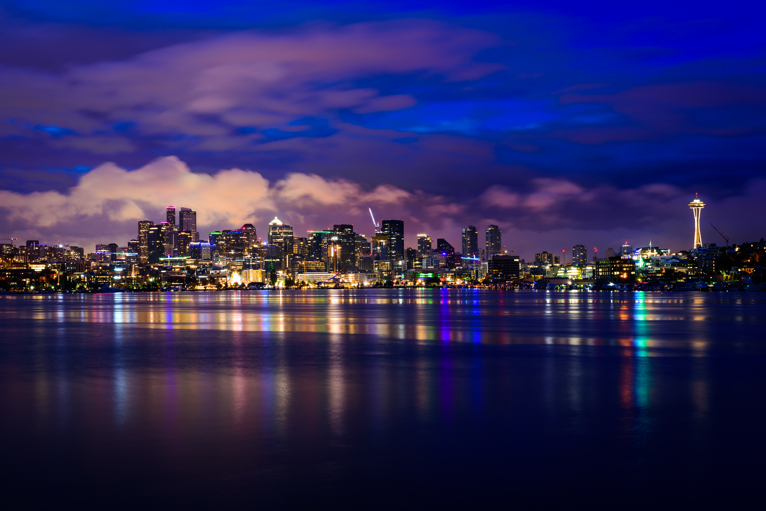 Seattle skyline at night, from Lake Union.  (Photo Credit: Steve Tosterud)