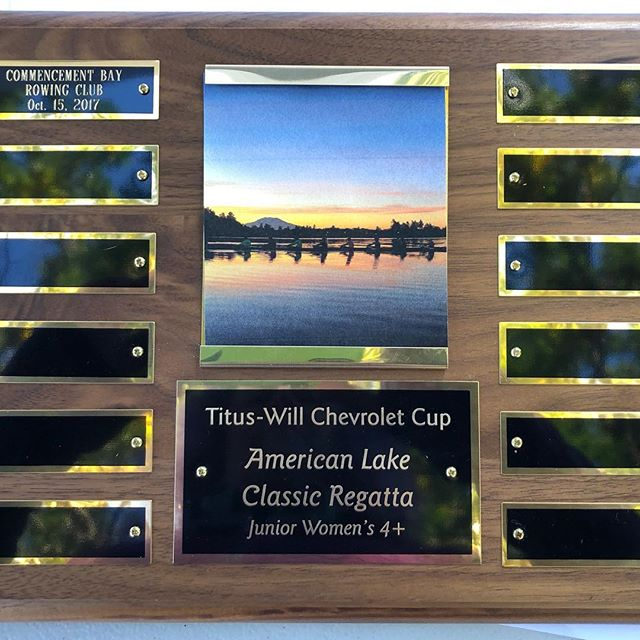 Surprise plaque for our @bbrc_juniors girls' win in the 4+! #welovesurprises #gottagetitengraved #rowing #rowingrelated #americanlake #rowingteam