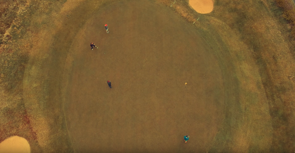 Image: Groom prep but better! On a golf course… perfect shot captured by the Race Wedding Videography drone!