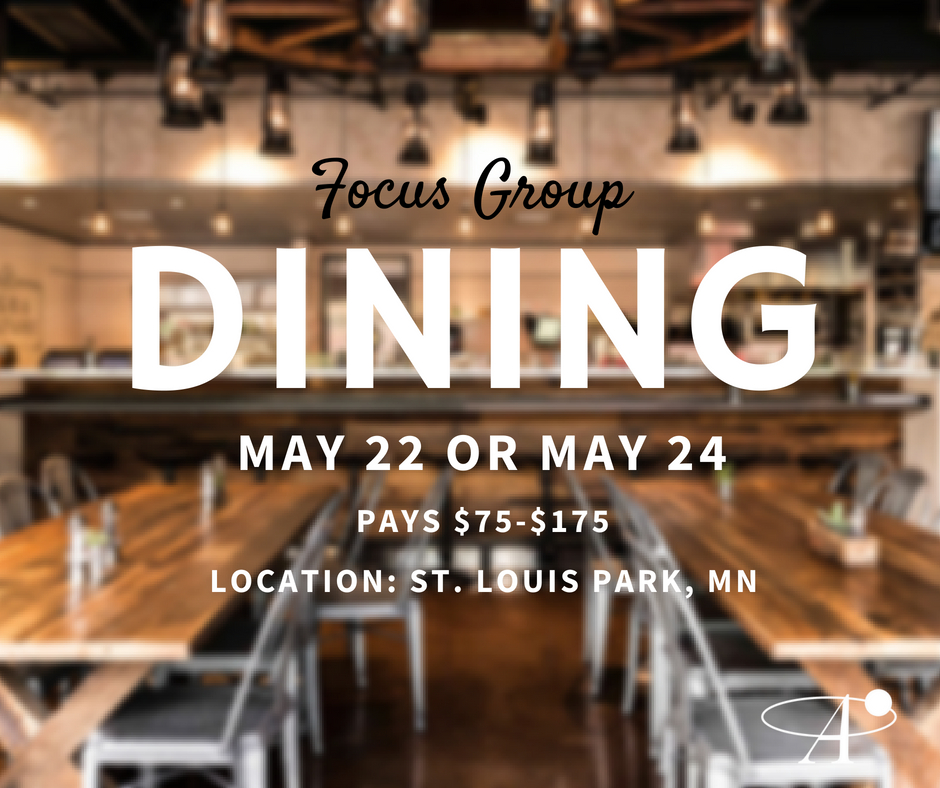 Pays $75-$175 for participating in a research study about Restaurants and food orders. Takes place May 22 or May 24 in St. Louis Park, MN.