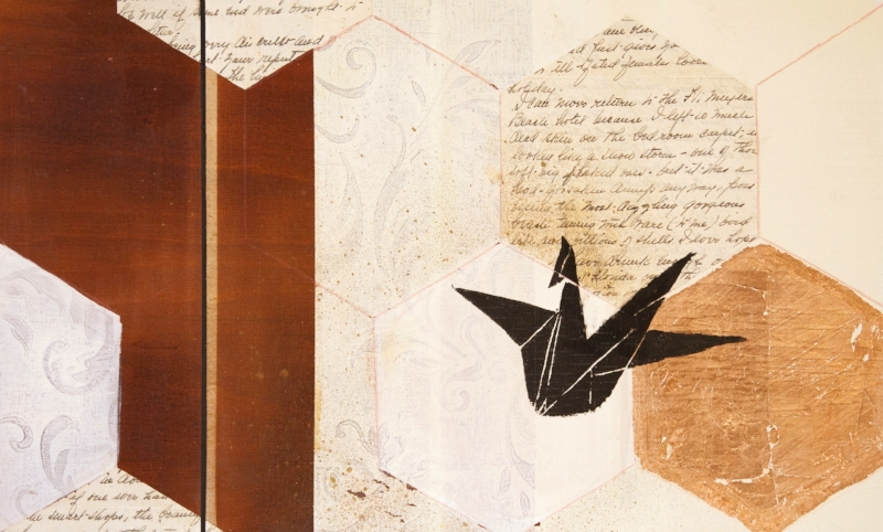 Paper Cranes II: collage with gold leaf on reclaimed board. Block print crane print. The text is a vacation letter, circa 1940, from a trip to St. Petersburg, Florida. The writer is detailing her massive sunburn and consequential skin shedding in a hotel room. 12x20. $250