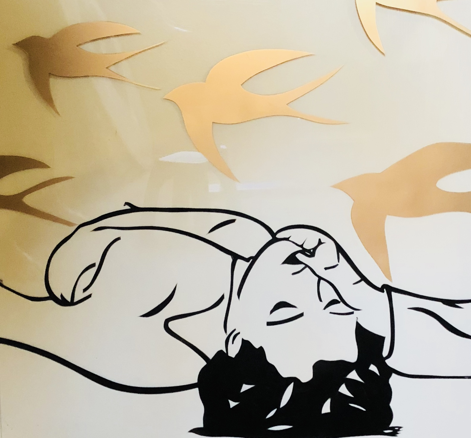 "Swallow. 24x24"" stencil on plexiglas"